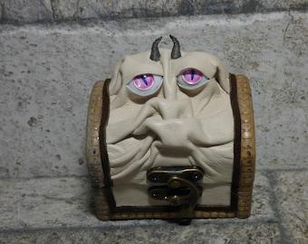 Treasure Chest Desk Organizer Monster Trinket Dice Box Ring Box Small Storage Stash White Leather  290