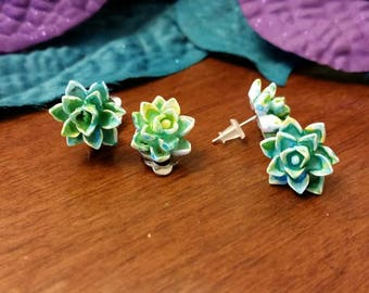 Blue and Green flower charm earrings - resin cabochons - post or clip on available - girls jewelry accessories