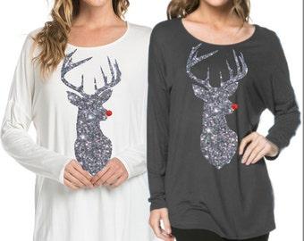 Deer Christmas tunic, Reindeer christmas shirt, ADULT