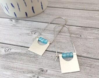 geometric sterling silver hook earrings - long square dangle earrings - modern earrings - blue stones -contemporary jewelry -tribal earrings