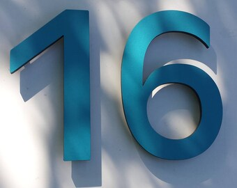 """Modern contemporary Coloured House numbers,  9"""" high in Antigoni font,  standoff floating in resin board g"""
