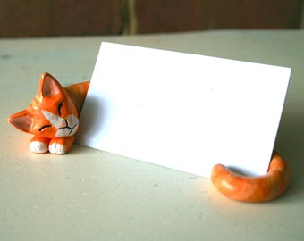 Cat card holder etsy clay cat business card holder customized colourmoves
