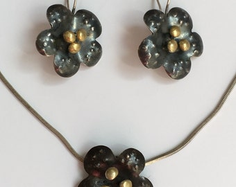 Amazing Artisan Hand Made Vintage Sterling Silver Large Flower Necklace Pendant + Earrings Set Jewellery Jewelry For Her 925