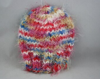 hats; handk nit hats; knit hats; bright plaid hat; stretchy hat; toddler size hat; fuzzy hat