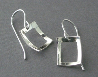 Open Scoop Rectangle Earrings - Sterling Silver
