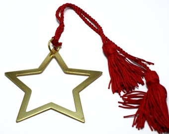"""Good luck """"gouri"""" brass star, red silk cord and tassels, home decor, gift"""