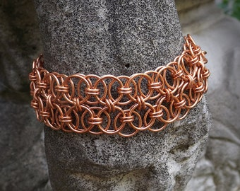 Heart in Chains Collection – Double Helms Copper Chainmaille Bracelet
