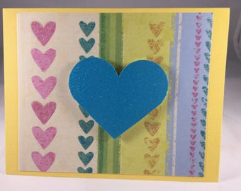 Yellow and Blue Heart Blank Note Card  - Blank Inside