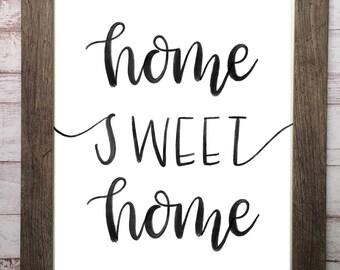 home sweet home print, printable art, wall decor, wall art, printable wall art, home decor, home art print, digital download, art print