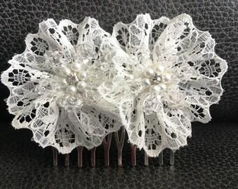 Lace Flower Bridal Hair Comb
