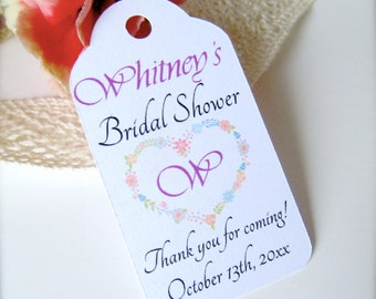 Bridal shower favor tags, custom thank you tags, bridal shower decor, thank you tags, heart tags, favor tags, favor tags - 30 count(tag16)