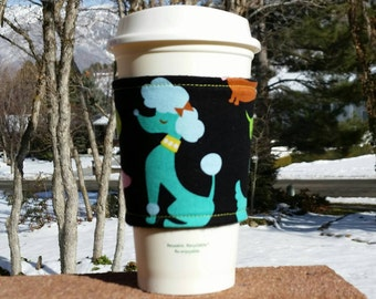 FREE SHIPPING UPGRADE with minimum -  Fabric coffee cozy / cup sleeve / coffee sleeve - Bright dogs on black