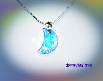 Italian 925 Sterling Silver Snake Chain Swarovski Crystal Elements Moon Pendant Necklace