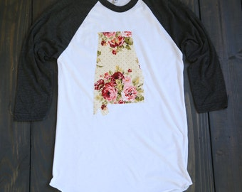 "Handmade Alabama Outline Baseball Shirt, T-Shirt,Tee- ""Shabby Chic"""