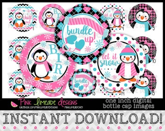 "Chilly Penguins - INSTANT DOWNLOAD 1"" Bottle Cap Images 4x6 - 855"