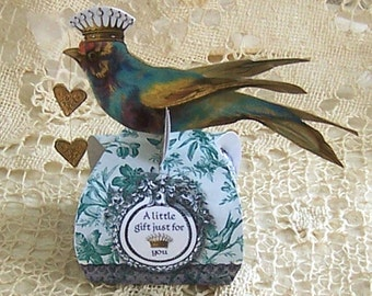 Wedding Favor  Box, Gift Tags Or Cupcake Topper - Altered Art Bluebird Crown Toile Hearts And Lace Embellishment CS14CS