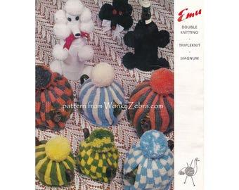 Vintage toy poodle bottle gift bag tea cosy striped plain teacosy teapot traditional kitsch retro cosies Knitting Pattern PDF 904 WonkyZebra