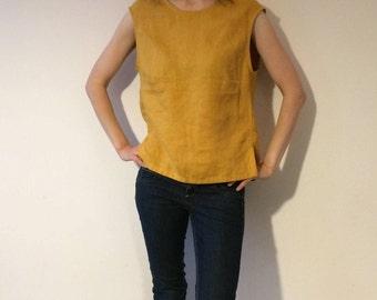 100% Linen Shirt, Sleeveless Shirt, Sleeveless Blouse, Sleeveless Top,Mustard Loose Top, Linen Shirt Women, Linen Blouse, Linen Summer Shirt