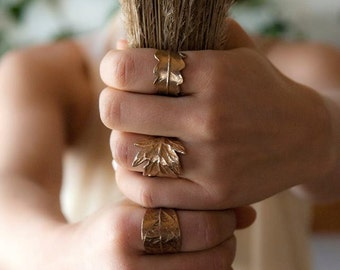 Fern, Leaf ring, Bronze, Botanical, Woodland Jewelry, Golden ring, Rustic, Forest, Nature