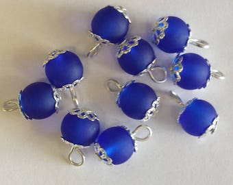 Navy 5 pendants 8mm blue frosted glass beads