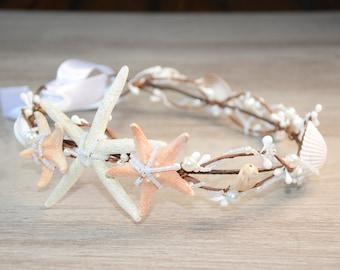 Starfish crown Mermaid crown Beach wedding hair accessories Bridal headband Sea shell headpiece Starfish headband boho Destination wedding