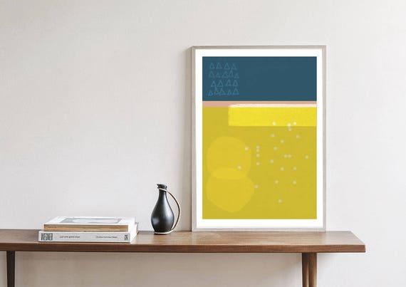 SISI #3/ Abstract art, 24x36, minimalist art print, Scandinavian style, nordic design, yellow, blue, pink