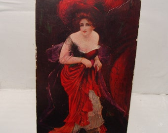 Lady in Red, May 29, 1907 Vintage Postcard Greeting to Mr Brit Hym__