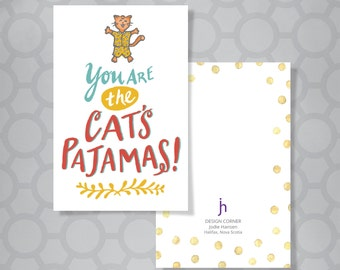 Tiny Inspirations Hand Lettered Cat's Pajamas Mini Recognition Card