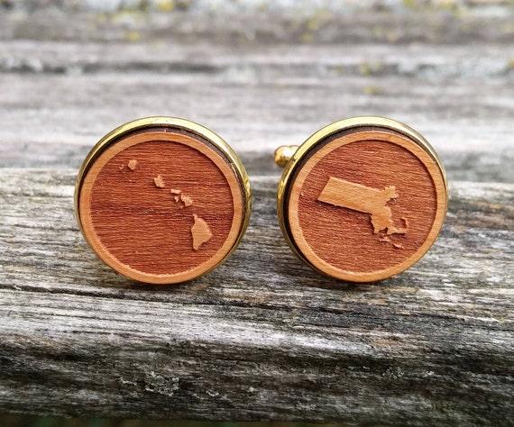 Bride & Groom State Cufflinks. Laser Engraved Wood. Wedding, Groom, Groomsmen Gift, Anniversary. Custom Orders Welcome. Map