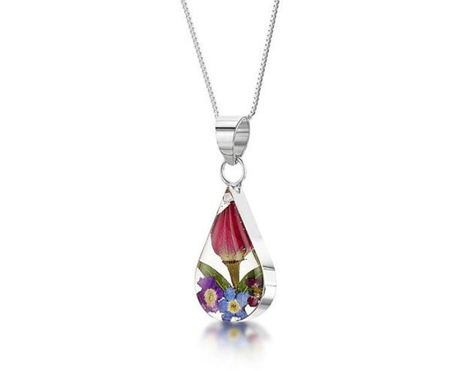 """Silver TEARDROP  Pendant - Mixed flower - flowers -  18"""" silver chain - Hand Made in UK"""