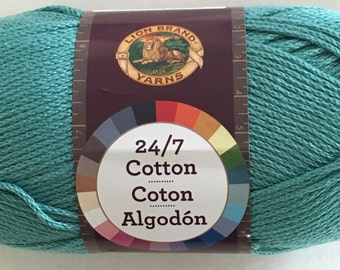 Lion Brand 24/7 Cotton - worsted weight mercerized cotton yarn - color 178 Jade