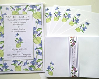 Writing Paper and Co-ordinating Envelopes Set, Violets Design