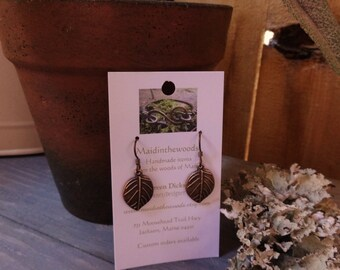 READY to SHIP! Copper Leaf Earrings with Niobium Ear Hooks Hypoallergenic and Comfy For The Most Sensitive Ears