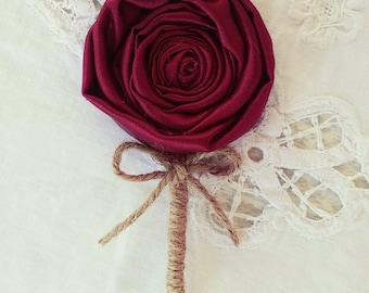 Burgundy Wedding Boutonniere, men buttonhole, grooms brooch, wedding accesories