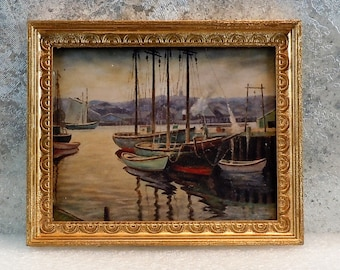 Dollhouse Miniature accessory in twelfth scale or 1:12 scale; Framed artwork.  Boats on the water.  Item # 417.