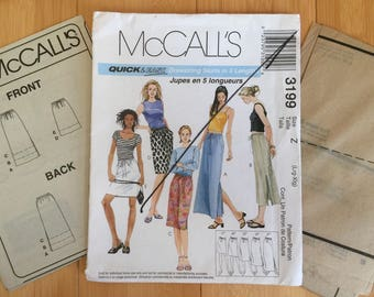 Drawstring Skirts In Five Lengths Large XL size 16 18 20 22 waist 30 32 34 37 McCalls 3199 sewing pattern lagenlook easy beginner