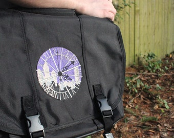 Black Clockwork Messenger Bag Padded Computer Pocket