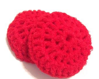 Red Crocheted Nylon Netting Dish Scrubbies-Pair