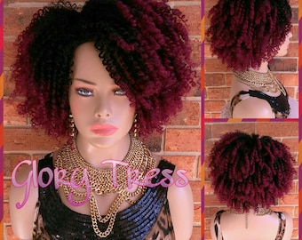 ON SALE // Kinky Curly Half Wig, Ombre Burgundy Wig, Big Curly Afro Wig, African American Wig // GOOD
