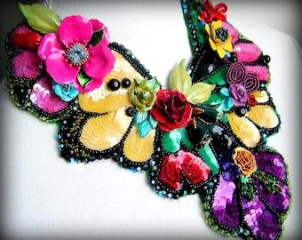 Sequin Blooms -  OOAK Neckpiece - Ready to ship xx