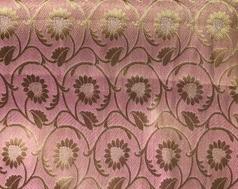 10% OFF One yard of Indian benarasi brocade fabric in petal pink in flower vine design /home accents,costume fabric/Indian sari fabric