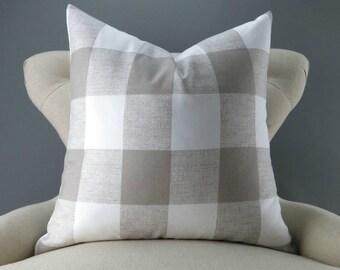 Ecru Plaid Pillow Cover -MANY SIZES- Big Check Pattern, Gingham Print Pillow, Euro Sham, Buffalo Plaid, Anderson Ecru by Premier Prints