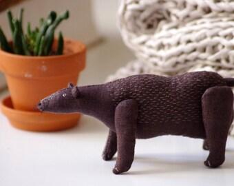 Brown bear. Soft sculpture.