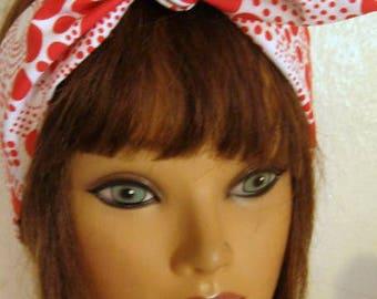 Womens Headband, BOHO Headband, Hair Accessory, RED and WHITE, Polka Dots, Pin Up Hair Bandana, Boho,  TieUp Bandana, Women HairBand