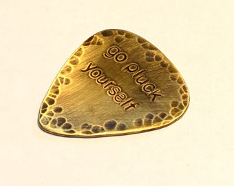 Go Pluck Yourself Brass Guitar Pick in Rustic Rebellious Finish - GP3783