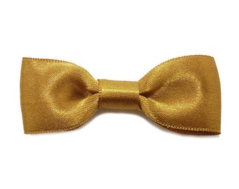 Hair clip bow tie, Satin Ribbon, Camel Beige.