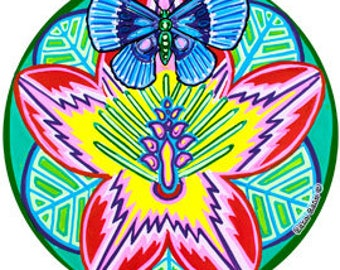 Cosmic Circle, Hibiscus Butterfly, Yoni Flower, Nature Lover, Paradise Art, Colorful EcoFriendly Window Suncatcher cling, made in California