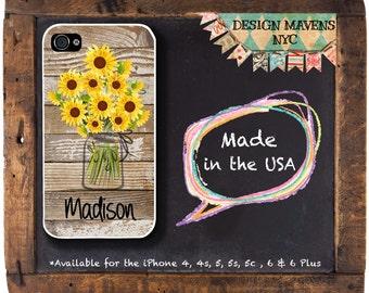 Sunflower iPhone Case, Personalized Phone Case, Mason Jar iPhone Case, Floral iPhone Case, iPhone 8, 8 Plus, 7, 7 Plus, 6s, 6 Plus, 5s, 5c