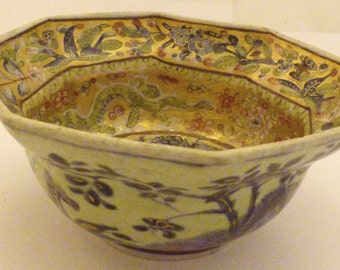Japanese octagonal floral dish D: 15 cm signed to base