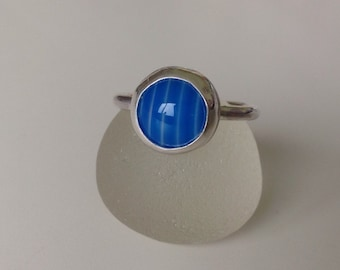 Handmade Sterling silver and blue stripe agate stacker ring - size UK N US 7